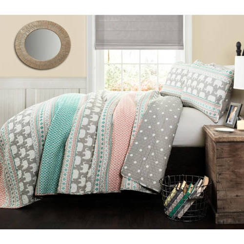 3 Piece Girls Blue Pink Gardens Elephant Quilt Twin Set, Grey Horizontal Stripe Design Animal Print Diamond Sequence Pattern, Kids Bedding Teen Safari Themed, Wild Graphic Polyester Microfiber