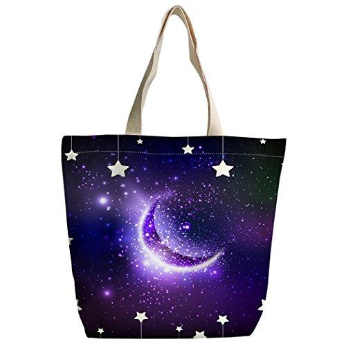 étoile Motif Sac à main à Sac Violet Canvas cabas Sac bandoulière Galaxie Violetpos lune sac Repas C7q6UC