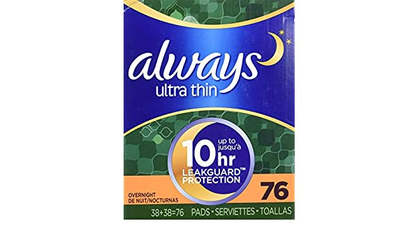 Always Ultra Thin Overnight Pads with Wings - 76 ct. by Always: Amazon.es: Salud y cuidado personal