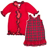 Laura Dare Red Plaid Christmas Robe Nightgown Sleepwear Set Girls 4-10