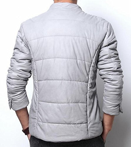 PU Men Winter Leather Parka Coats Jackets UK Grey today Zafxwq5In1