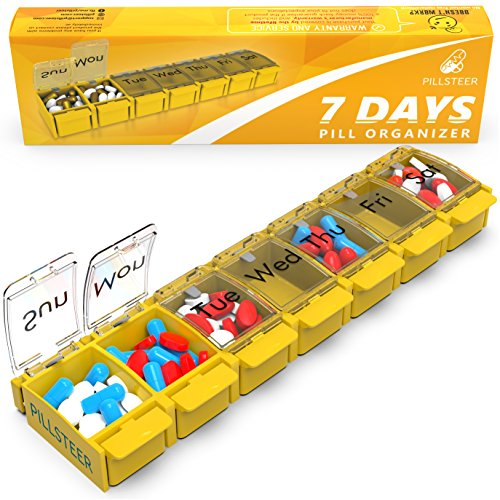 Weekly Pill Organizer Vitamin Holder - Large Pill Container Box - Easy Open Medication Dispenser Case, Detachable Large Medicine 7 Day Box - Vitamin Organizer Large 7 Compartments