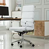 Roundhill Furniture Modica Chromel Contemporary High Back Office Chair, White