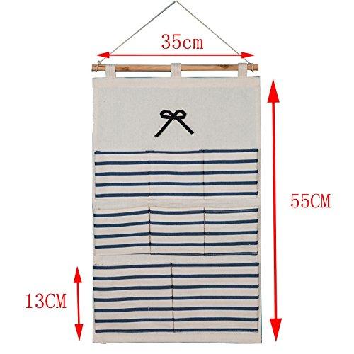 Storage Bag Dormitory/Bedroom Fabric Stripe Wall-Mounted Storage Bag, 02