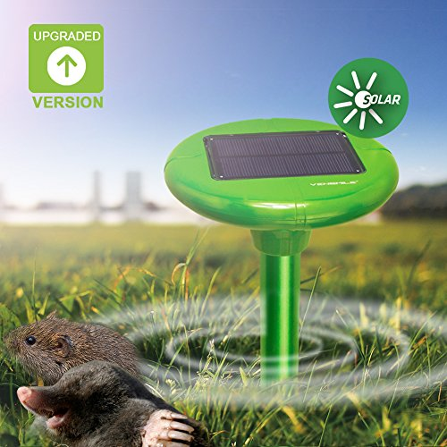 VENSMILE Solar Powered Mole Repeller Drives Away Moles, Voles,Gopher and Other Burrowing Pests with Safe and Effective