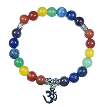Myhealingworld Om Charm Seven Chakra Healing Power Yoga 8mm Natural Beads Stretchable Bracelet