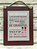 """KITCHEN RULES SIGN Reclaimed """"Kitchen Rules"""" 6X8 RED Green"""