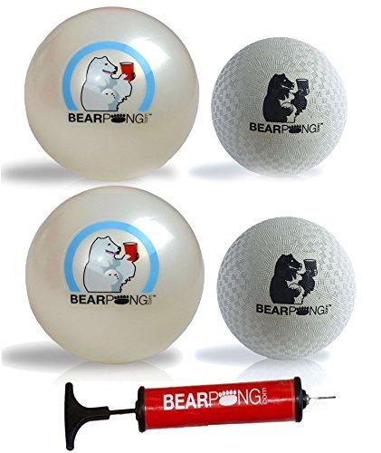 Bearpong Set of 4 Rubber Balls: 2 - 6'' Beach, 2 - 4'' Wind Balls with Pump by Bear Pong
