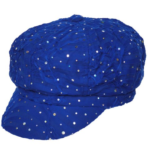 [Chemo Hat Glitter Sequin Royal Blue Newsboy Fitted for Women with Cancer Chemo Hair Loss] (Glitter Wigs)