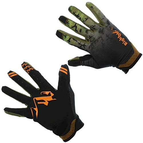 RightOn SIMPL Mountain Bike Gloves, Unisex Cycling Gloves, Full Finger MTB DH Downhill Off Road Gloves with Touch Recognition