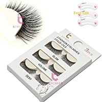 3 Paires de Long Croix Faux Cils Maquillage Naturel 3D Faux Épais Noir Eye Lashes