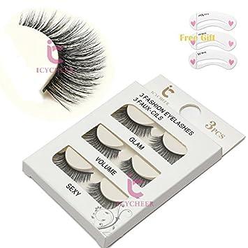 e830d67985e 3 Pairs Long Cross False Eyelashes Makeup Natural 3D Fake Thick Black Eye  Lashes