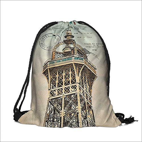 (printing Drawstring Gift Bag Decor Collection Vintage Postcard with Eiffel Tower in Paris France 1910 Rare Antique for Travel,Family,Dorm 14