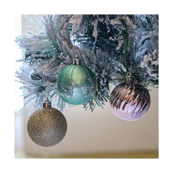 Valery Madelyn Palle di Natale 30 Pezzi 6cm Palline di Natale, Elegante Palazzo Verde Menta e Oro Rosa Infrangibile Ornamenti Palla di Natale Decorazione per Albero di Natale Decor 3 spesavip