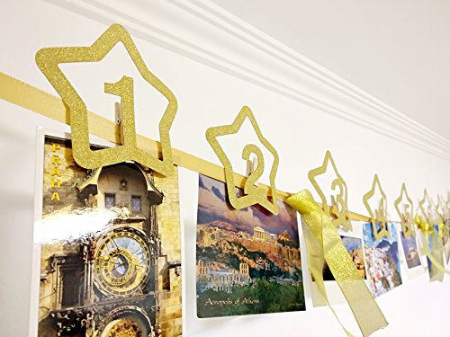 PartyEight - 1st Birthday Decorations Photo Banner - Monthly Photo Banner For Babies (Garland Holders)