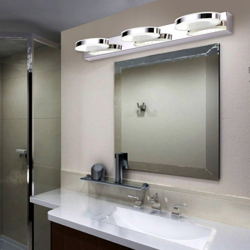 LightInTheBox Bathroom Vanity Light, LED Crystal Ring Make Up Mirror Light, 3-Lights Wall Sconce Daylight Bathroom Bedroom Lighting (White) by LightInTheBox