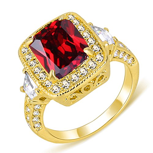 EleQueen Women's Gold-tone Prong Cubic Zirconia Crystal Party Ring Ruby Color Size (Crystal Ruby Ring)