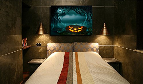 Scary Halloween Face Painting Ideas (NAN Wind Glowing Pumpkin in Dark Scary Forest Church Halloween Paintings for Wall Art Painting Modern Canvas Wall Paintings Home Decoration Canvas Prints Paintings Framed and Stretched,Ready to Hang)