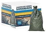 Sandbaggy - Empty Poly Sandbags W/ UV Protection - Size: 14'' x 26'' - Color: Green - Military Grade (500 Bags) (Renewed)