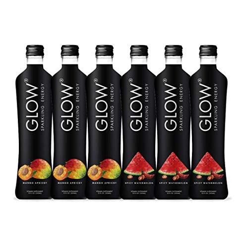 GLOW Beverages Premium Sparkling Infused Energy Sample Pack - 6 Pack 12oz Glass - Spicy Watermelon & Mango Apricot - Vitamins & Antioxidants