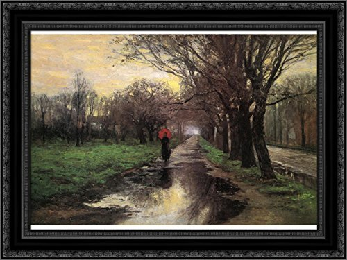 (Meridian Street, Thawing Weather 24x18 Black Ornate Wood Framed Canvas Art by T. C. Steele)