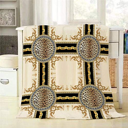 Mugod Retro Ethnic Design Throw Blanket Golden Square Baroque Lepard Skin Chain Plaid Stripe Pattern Decorative Soft Warm Cozy Flannel Plush Throws Blankets for Bedding Sofa Couch 50 X 60 Inch - Golden 50 Baroque Chain