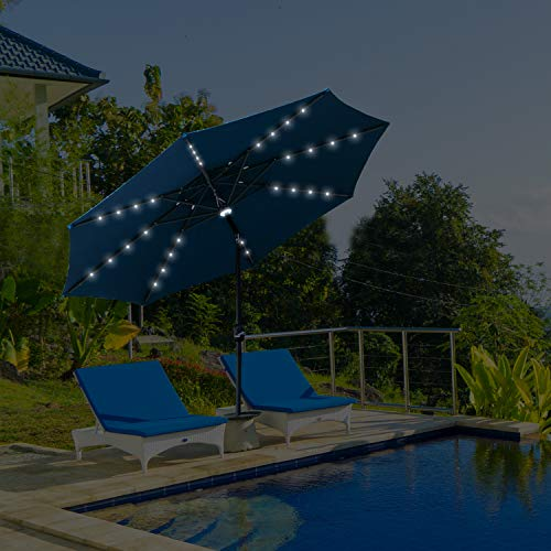 Wonlink 9ft Patio Umbrella,Solar Powered 32 LED Lighted,Unique Central Hug Light,8 Ribs Table Market Umbrella with Crank and Push Button Tilt