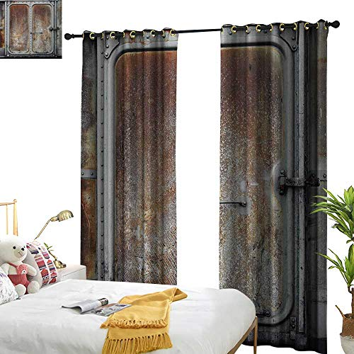 Dividers Container Hulk (Anyangeight Industrial,Customized Curtains,Vintage Railway Container Door Old Locomotive Transportation Iron Power Design,W96 xL84,Suitable for Bedroom Living Room Study, etc.)