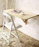 SoBuy Mesa de cocina, mesa de madera, mesa plegable de pared, mesa de comedor, escritorio, mesa, plegable 2x, 80x60cm FWT02 (natural)