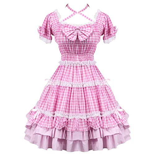 Rosa Shepherd Rueschen Partiss Love Kleid ueberpruefen Frauen Sweet Lolita xwqw8XtTPF