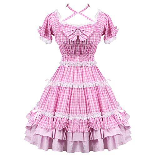 Kleid Love Sweet ueberpruefen Frauen Shepherd Rueschen Partiss Rosa Lolita 4cOHWnw