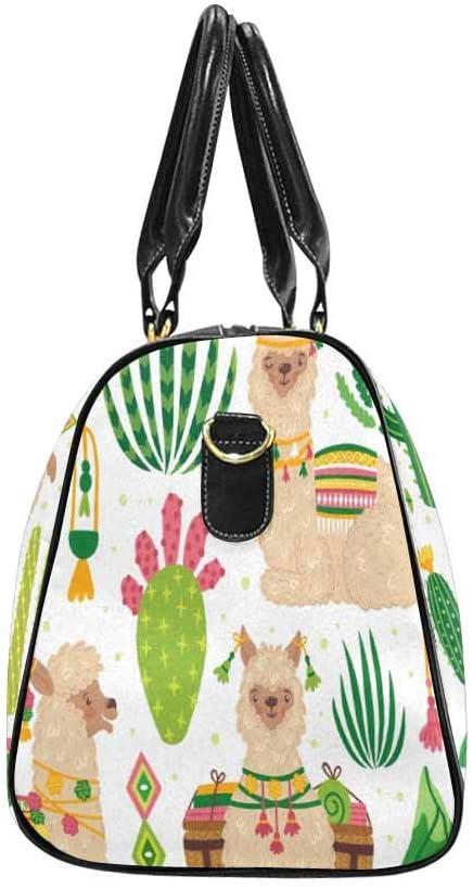 InterestPrint Set of Cute Llamas and Cacti Carry-on Garment Bag Travel Bag Duffel Bag Weekend Bag