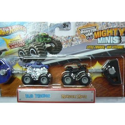 Hot Wheels Monster Jam Mighty Minis Blue Thunder & Monster Mutt: Toys & Games