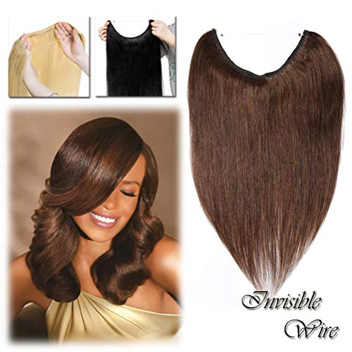 Hidden Wire Hair Extensions Human Hair Medium Brown No Clip in 16 18 20 Inch Long Straight Remy Hair Translucent Wire Invisible Fish Line (16'' #4)