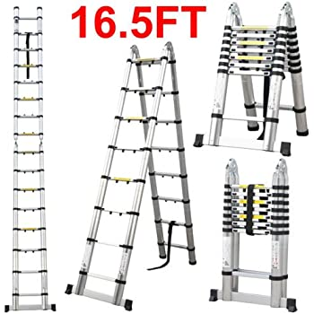 16 5 Ft Aluminum Telescopic Ladder Telescoping A Type