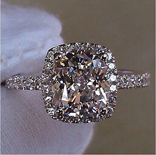 A.Yupha Handmade Cushion cut 3ct Diamonique Cz 925 Sterling Silver Women Wedding Ring (5)