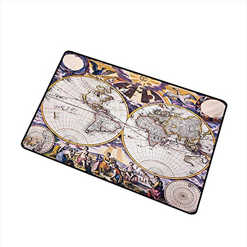 Becky W Carr World Map Welcome Door mat Antique Map with Farmers Field Sun Birds Clouds Fantasy Sky in Old Painting Style Door mat is odorless and Durable W23.6 x L35.4 ()