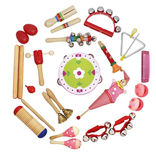 B Blesiya 17 KINDS 22 PCS Musical Toys Kids Instruments Percussion Rhythm Toy Sand Egg & Castanet & Tambourine & Harmonica & Crow Sounder etc. - Red