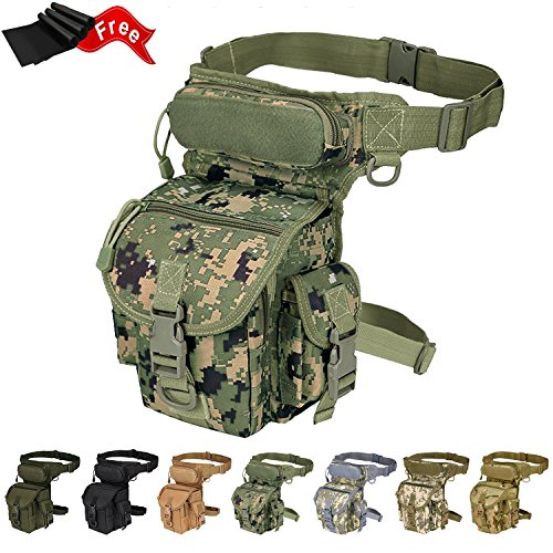 Injoy Multi-purpose Tactical Drop Leg Bag Tool Fanny Thigh Pack Leg Rig Military Motorcycle Camera Versipack Utility Pouch, Black/Coyote Tan/Army Green Available (Jungle Camouflage)