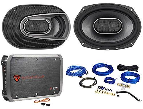 (2) Polk Audio MM692 6x9 900w 3-Way Car Audio/Marine Speakers+2-Ch Amp+Wire Kit
