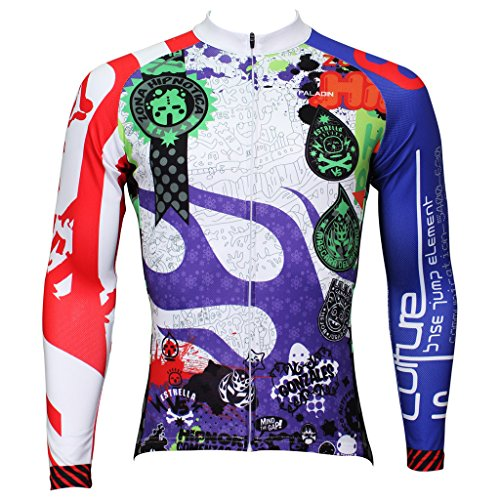 QinYing Men Patterns Breathable Long Sleeve Biking Cycling Jersey Top Blue - Greece To Delivery Amazon