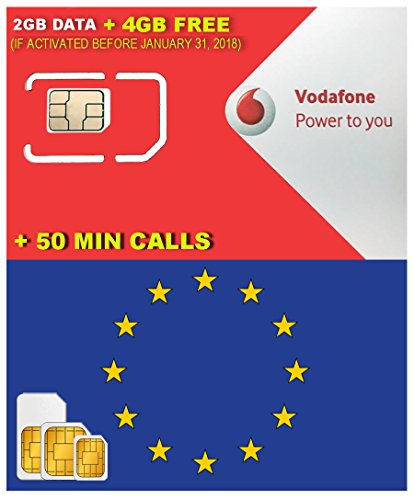 Europe Sim Card By Vodafone Spain 2Gb Data   4Gb Free  If Activated Before January 31 2018    6Gb Data 4G Speed   50 Min International Calls   Free Incoming Calls   Valid 28 Days From Activation Date