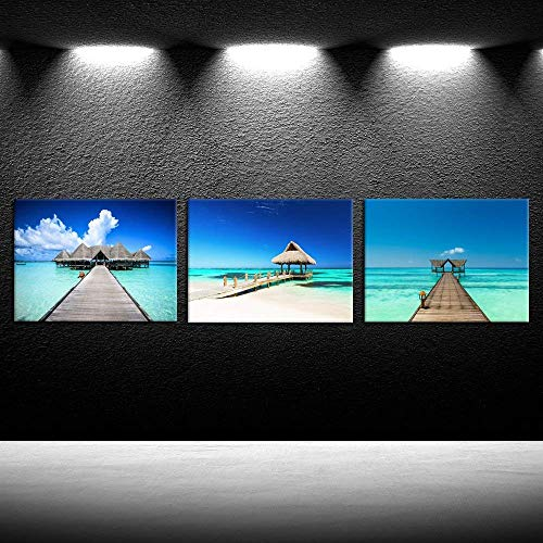 (iK Canvs - 3 Piece Canvas Prints Beautiful Tropical White Sandy Beach Wall Art Seascape Pictures Framed Art Work Modern Home Decor Stretched and Framed Ready to Hang 12x16inchx3pcs)
