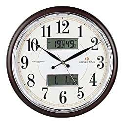 Wall Clocks Classic Home Calendar Plastic with Date Temperature LCD Display Living Room Office Bedroom Mute Clock Size: 45455cm