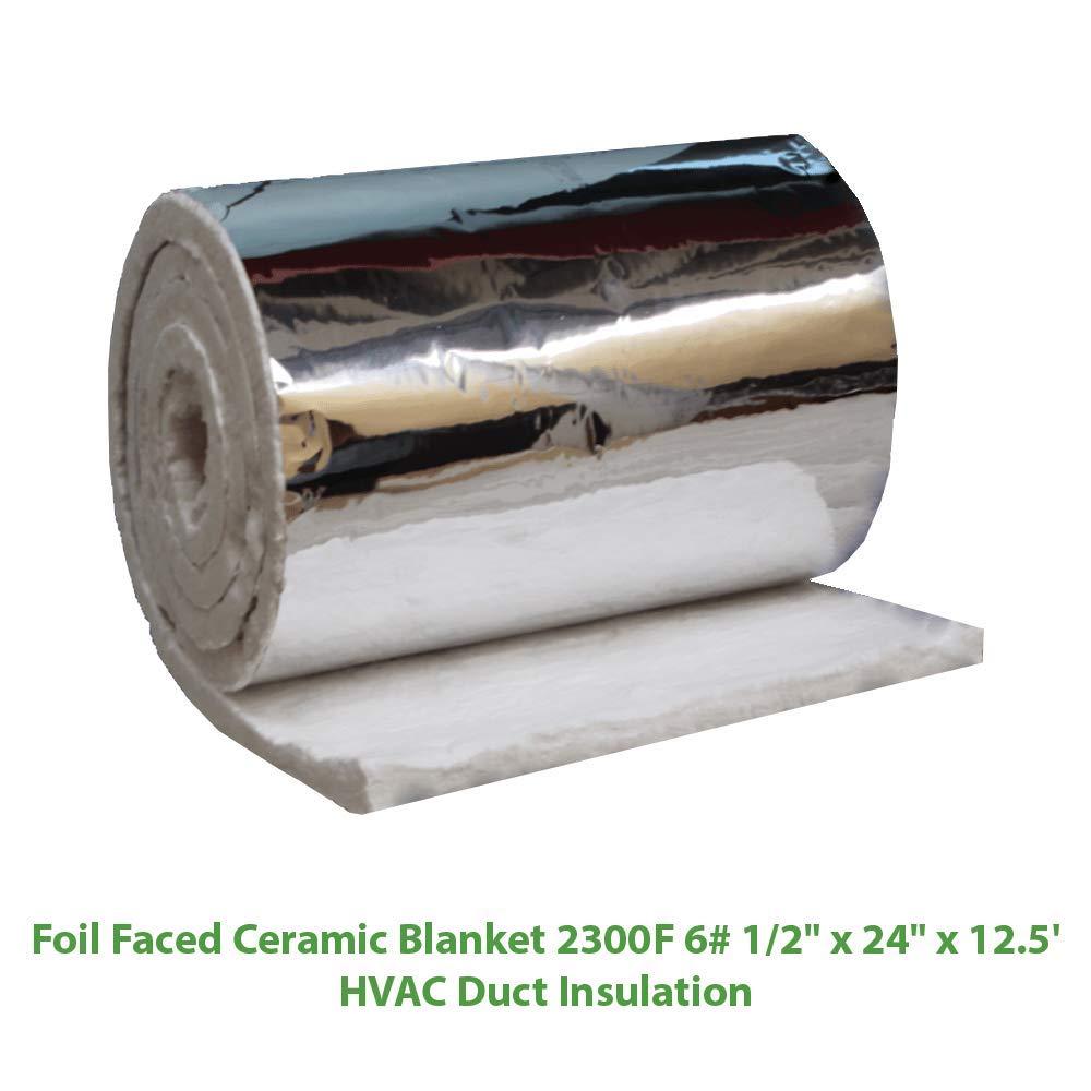 Foil Faced Ceramic Blanket (2300F 6#) (1/2'' X 24'' x 12.5') for HVAC Duct Insulation