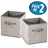 mDesign Fabric Closet Storage Organizer Cube for Toys, Sweaters, Accessories - Pack of 2, Linen