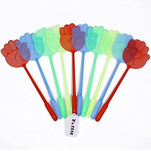 (Kottle Fly Swatter, Manual Swat, Plastic Fly Swatters, Multi-Colors, 10 Pack (Color Random))