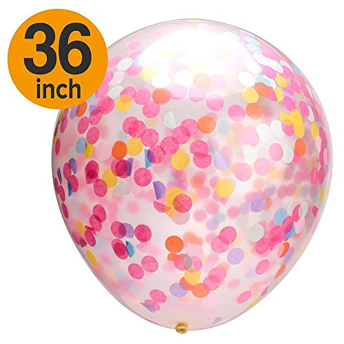 Mesha Confetti Balloons Jumbo Party Balloons with Colored Ribboon for Wedding Christmas Wedding Decorations Events Proposal (36 inch) -