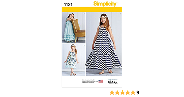 Sizes 7-14 Simplicity 1121 Pull Over Maxi Dress Sewing Pattern for Girls