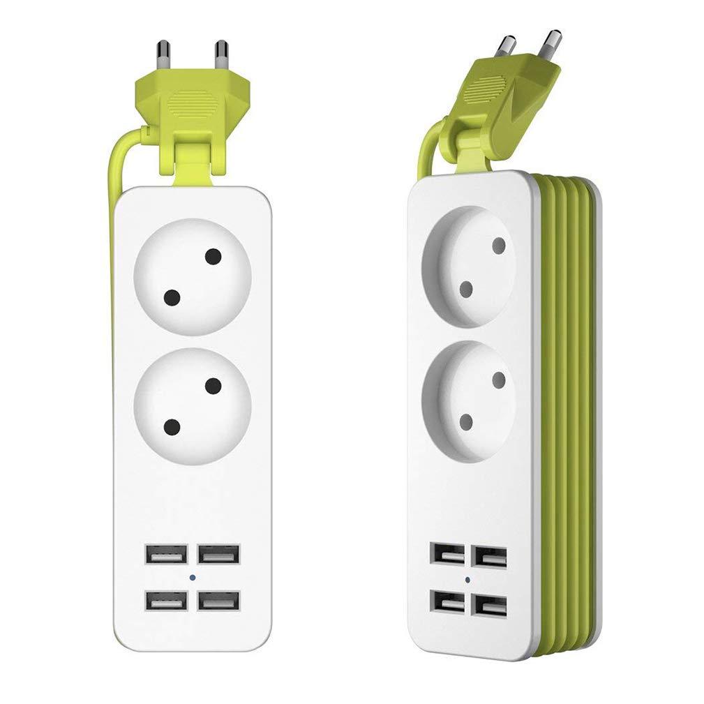 Quner 2 sockets avec 4 Ports de Chargement USB Sockets Power Socket avec câble d'extension Câble de Charge Multiple DE 1,5 m pour appareils Mobiles ou Autres au Bureau et à la Maison